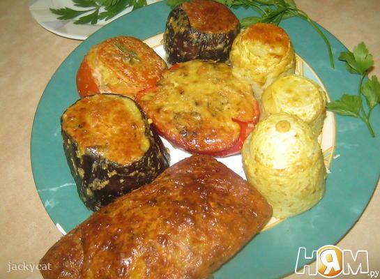 Овощи, фаршированные сыром и грибами
