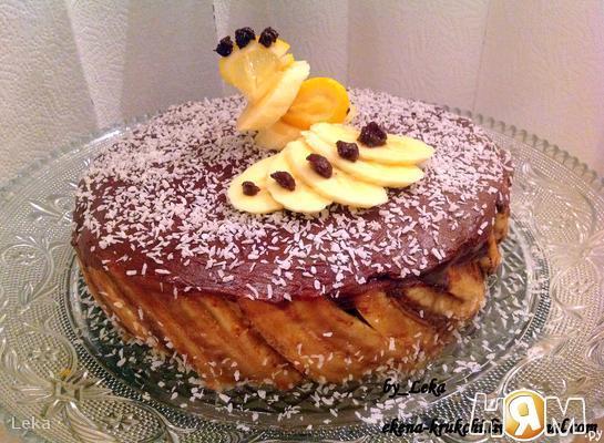 """Торт """"Криольо"""" с шоколадом и бананами"""