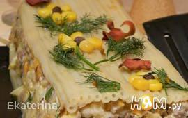 Макаронная запеканка с фаршем и овощами