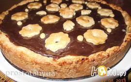 Пирог с  шоколадным пудингом и яблоками