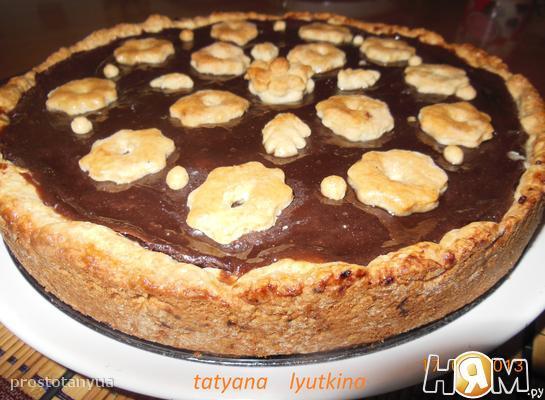 Рецепт Пирог с шоколадным пудингом и яблоками