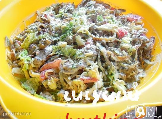 Салат из говядины и пекинской капусты